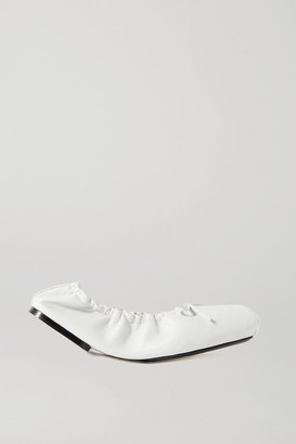 KHAITE Ashland Bow-embellished Leather Ballet Flats - White