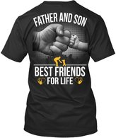 TEEHAY Funny Fathers Day Gift For Dad-Father and son best friends for life T-Shirt (XXL,Black)