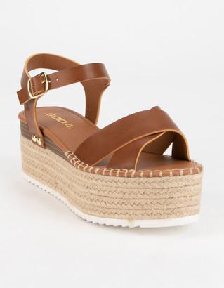 Soda Sunglasses High Ankle Strap Womens Tan Flatform Sandals