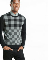 Express plaid pullover crew neck sweater