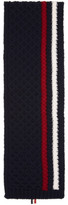 Thom Browne Navy Aran Cable Knit Stripe Scarf