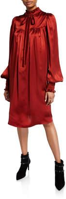 ADAM by Adam Lippes Ruffled Charmeuse Blouson-Sleeve Dress