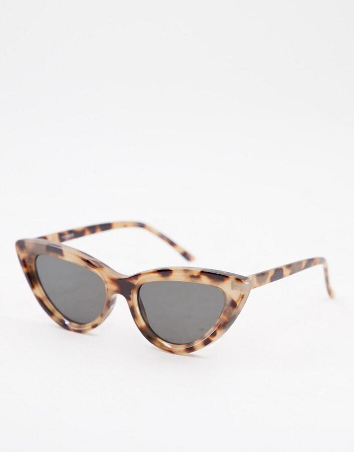 ASOS DESIGN recycled frame bevelled cat eye sunglasses in milky tort