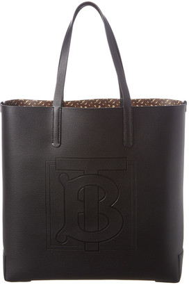 Burberry Large Monogram Embossed Leather Tote