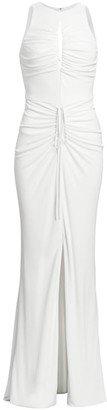 Cdgny Ruched Keyhole Drawstring Gown