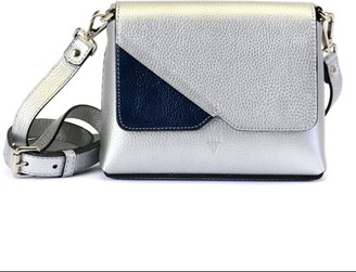 Atelier Hiva Mini Mare Leather Bag Silver & Metallic Navy Blue