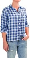 Caribbean Joe Gauze Plaid Roll-Tab Shirt - Long Sleeve (For Women)