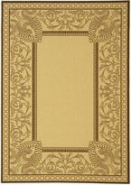 Safavieh Courtyard Collection CY2965-3401 Natural and Chocolate Indoor/Outdoor Square Area Rug, 6 Feet 7-Inch Square