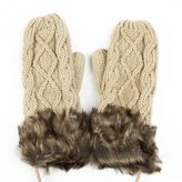 ILOVEDIY Winter Knitted Full Finger Black Warm Mittens Gloves for Women