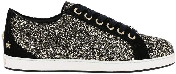 Jimmy Choo Sneakers Cash Sneakers In Glitter Fabric And Suede With Maxi Stars