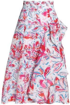 Peter Pilotto Ruffled Printed Cloqué Skirt