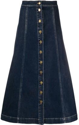 L'Autre Chose A-line button down denim skirt