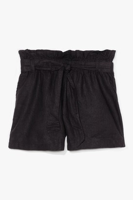 Nasty Gal Womens Belt One Yet High-Waisted Linen Shorts - Black - 12