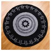 """One Grace Place Teyo's Tires Round Rug - Black (5""""X5')"""