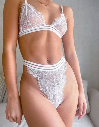 ASOS DESIGN Alessia lace high waist thong with filament elastic in white