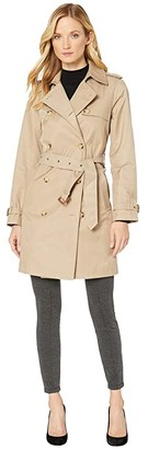 Lauren Ralph Lauren Double Breasted Trench w/ Welt Pocket (Sand) Women's Clothing
