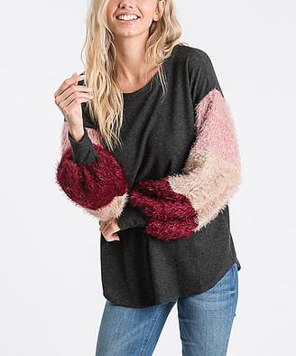 Love, Kuza Women's Pullover Sweaters Mocha - Charcoal & Burgundy Color Block Sleeve Crewneck Tunic - Women