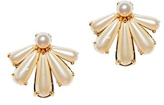 Lele Sadoughi 14K Gold-Plated & Scalloped Acrylic Pearl Stud Earrings