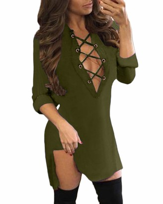 Auxo Women Sexy Casual Lace Up V Neck Long Sleeve Split Irregular Plaid Tunic Tops Shirt Mini Dress Blue&Black Size S/UK 8