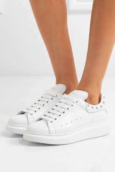Alexander McQueen Studded Leather Sneakers - White