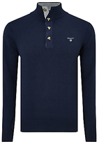 Gant Cotton Sporty Mock Neck Jumper, Blue