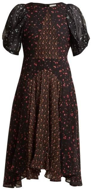Masscob Balloon sleeve floral-print silk dress