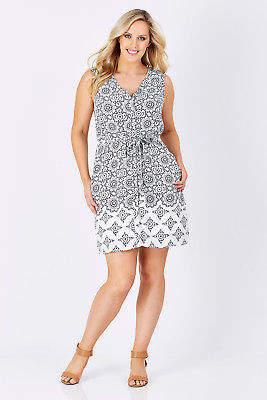 Hatley NEW Womens Knee Length Dresses Split Neck Dress WhiNavy