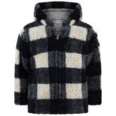 Baby Boys Navy & Grey Check Faux Fur Jacket