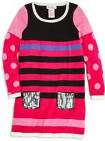 Design History Girls' Sequined-Pocket Mixed Prints Sweater Dress