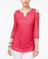 JM Collection Cold-Shoulder Crochet Top, Created for Macy's