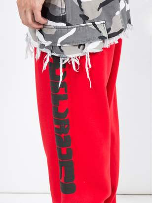 Vetements camouflage panel sweat pants red