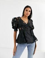 Asos Design DESIGN short sleeve check organza wrap top