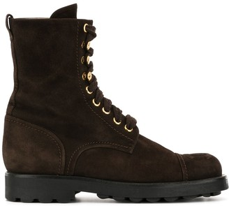 Chanel Pre Owned CC stitch combat boots