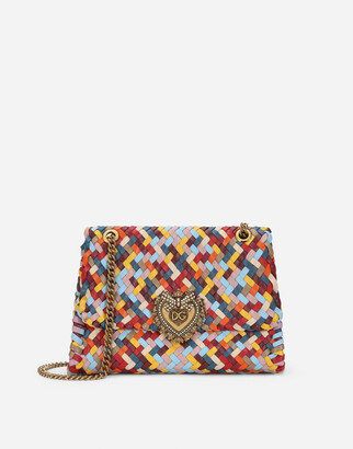 Dolce & Gabbana Large Devotion Shoulder Bag In Multi-Colored Woven Nappa Leather
