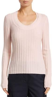 3.1 Phillip Lim Double Scoopneck Rib-Knit Cashmere Sweater