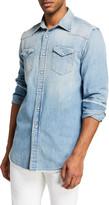 R 13 Men's Cowboy Shredded-Seam Denim Western Shirt