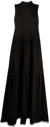 AllSaints lace-trimmed A-line dress