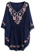 AsherFashion Asher Fashion Women's Summer Embroidery Batwing Dressy Tunic Peasant Tops Blouse