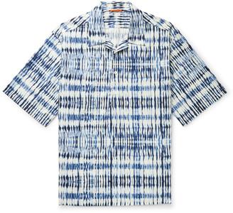 Barena Camp-Collar Tie-Dyed Cotton Half-Placket Shirt - Men