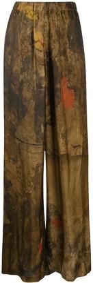 UMA WANG Abstract-Print Wide-Leg Trousers