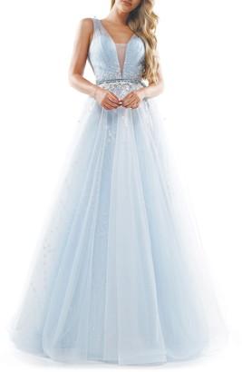Colors Dress Embellished Mesh V-Neck Ballgown
