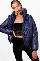 boohoo Molly High Shine Crop Puffer Jacket