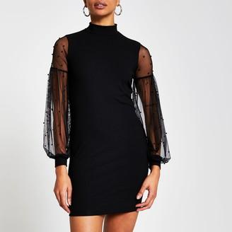River Island Womens Black long sleeve high neck bodycon dress