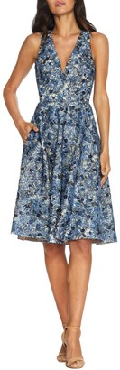 Dress the Population Sally Embroidered Sequin Fit & Flare Dress