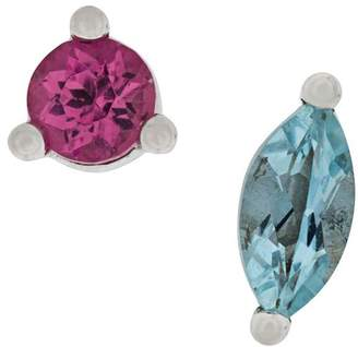 Delfina Delettrez 18kt white gold Dots Solitaire aquamarine and pink tourmaline earrings