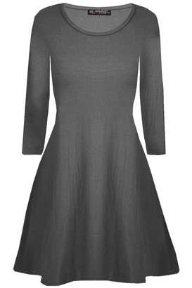 Fashion Star Womens Plain Jersey Flared Long Sleeve Ladies Party Mini Swing Skater Dress 8-24 Charcoal