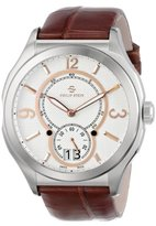 "Philip Stein Teslar Men's 17-FRGW-ABR ""Prestige"" White and Rose Gold Brown Alligator Strap Watch"