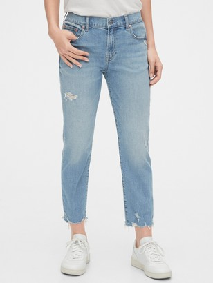 Gap Mid Rise Destructed Girlfriend Jeans