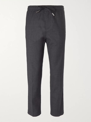 Mr P. Slim-Fit Grey Stretch Wool and Cotton-Blend Drawstring Trousers - Men - Gray