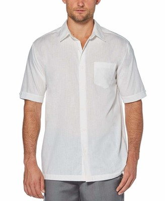Cubavera Cotton-Linen Solid One Pocket Shirt